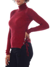Women - Turtleneck Sweater  W/Side Bottom Lace Up Detail-2582767