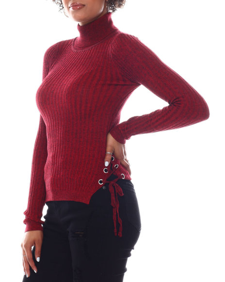 Fashion Lab - Turtleneck Sweater  W/Side Bottom Lace Up Detail