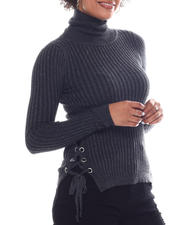 Women - Turtleneck Sweater  W/Side Bottom Lace Up Detail-2582789