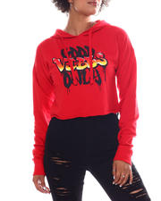 Women - Good Vibes french Crop Printed Hoodie-2582854
