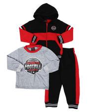 Boys - 3 Pc Long Sleeve Football Tee, Full Zip Color Block Hoodie & Jogger Pants Set (2T-4T)-2577855