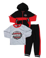 Arcade Styles - 3 Pc Long Sleeve Football Tee, Full Zip Color Block Hoodie & Jogger Pants Set (4-7)-2577863