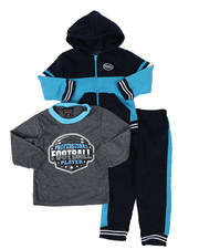 Boys - 3 Pc Long Sleeve Football Tee, Full Zip Color Block Hoodie & Jogger Pants Set (2T-4T)-2577870