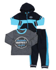 Sets - 3 Pc Long Sleeve Football Tee, Full Zip Color Block Hoodie & Jogger Pants Set (4-7)-2577878
