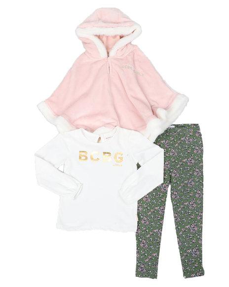 BCBGirls - 3 Pc Hooded Poncho, Long Sleeve Top & Floral Print Leggings Set (4-6X)