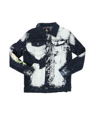 Arcade Styles - Graffiti Print Bleach Washed Denim Jacket (8-20)-2579711
