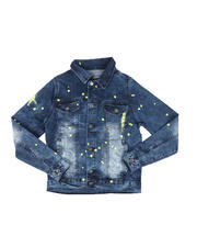 Arcade Styles - Denim Jacket W/ Neon Paint Splatter (8-18)-2580743