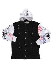Arcade Styles - Graffiti Print Fleece Sleeve/Hood Denim Jacket (8-20)-2579669