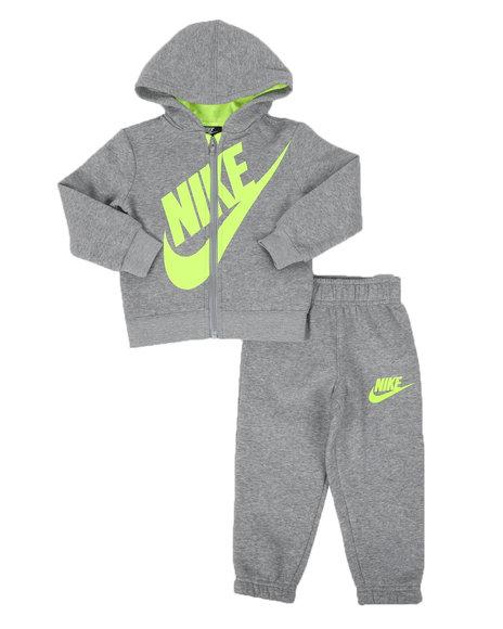 Nike - Heather Fleece Full Zip Hoodie & Jogger Pants Set (2T-4T)