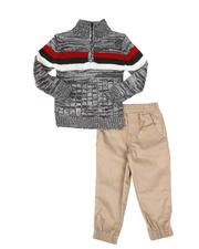 Arcade Styles - 2 Pc Stripe Half Zip Sweater & Twill Jogger Pants Set (2T-4T)-2581047