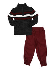 Arcade Styles - 2 Pc Stripe Half Zip Sweater & Twill Jogger Pants Set (2T-4T)-2581051