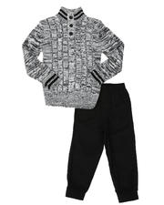 Arcade Styles - 2 Pc Stripe Trim Sweater & Twill Jogger Pants Set (2T-4T)-2581055