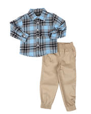 Arcade Styles - 2 Pc Plaid Button Down Flannel Shirt & Twill Jogger Pants Set (2T-4T)-2581059