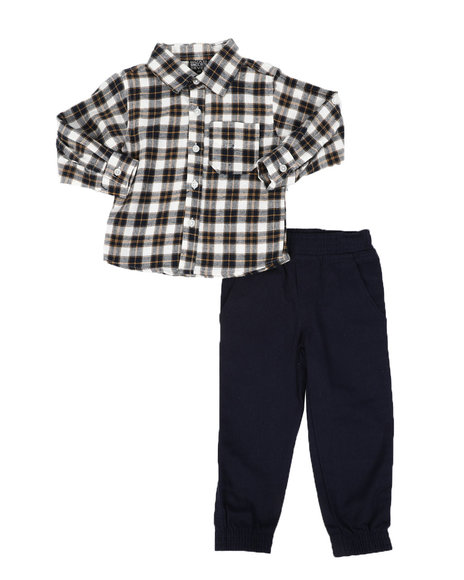 Arcade Styles - 2 Pc Plaid Button Down Flannel Shirt & Twill Jogger Pants Set (2T-4T)