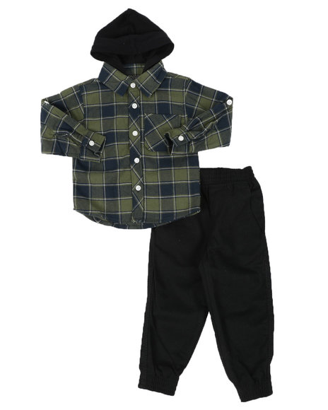 Arcade Styles - 2 Pc Plaid Hooded Button Down Flannel Shirt & Twill Jogger Pants Set (2T-4T)