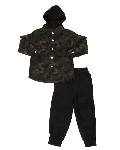 Arcade Styles - 2 Pc Camo Hooded Button Down Flannel Shirt & Twill Jogger Pants Set (2T-4T)