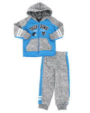 Arcade Styles - 2 Pc Fleece Touchdown Color Block Full Zip Hoodie & Jogger Pants Set (2T-4T)-2581075