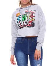 Fashion Lab - Savage French Crop Printed Hoodie-2582843