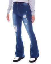 Bottoms - High Waist Rip Off Flare Jeans-2583062
