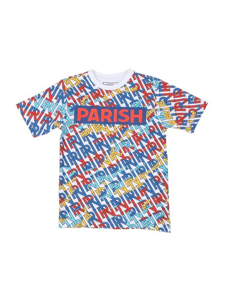 Parish - Parish Logo All Over Verbiage Print T-Shirt (8-20)