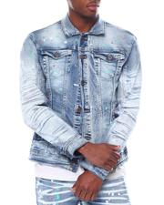 Denim Jackets - Color Paint Dot on Tint Wash Denim Jacket-2585971