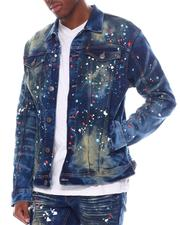 Denim Jackets - Color Paint Dot on Tint Wash Denim Jacket-2585982