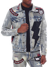 Denim Jackets - Rhinestone Lightening Bolt Denim Jacket-2585288