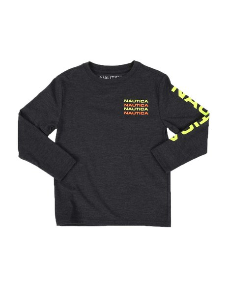 Nautica - Stacked Chest Logo Long Sleeve Graphic Tee (4-7)