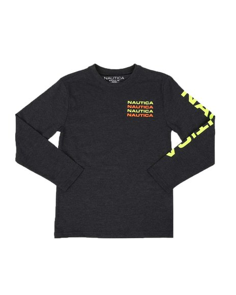 Nautica - Stacked Chest Logo Long Sleeve Graphic Tee (8-20)