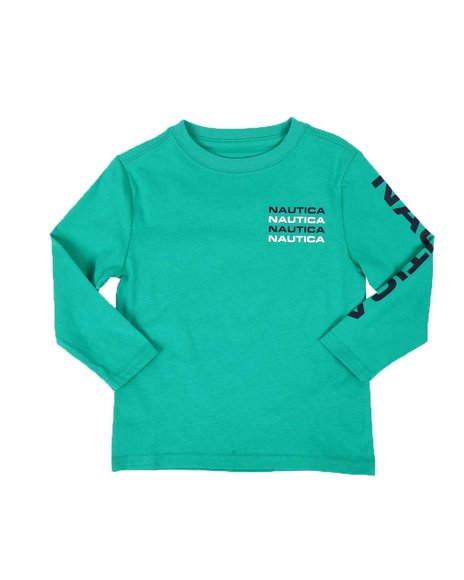 Nautica - Stacked Chest Logo Long Sleeve Graphic Tee (2T-4T)