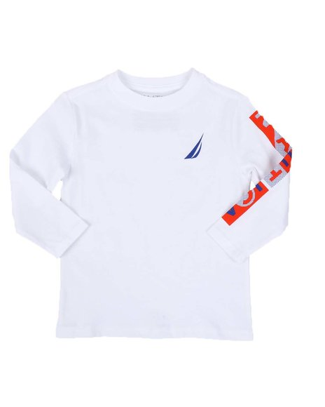 Nautica - Textured Sleeve Logo Long Sleeve Tee (2T-4T)