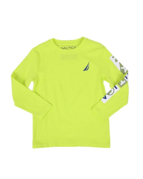Nautica - Textured Sleeve Logo Long Sleeve Tee (4-7)