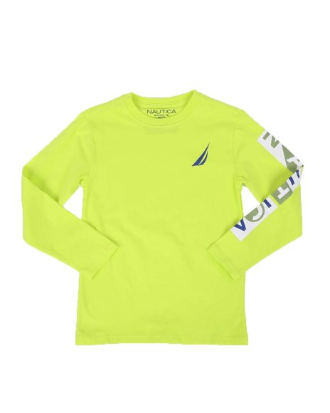 Nautica - Textured Sleeve Logo Long Sleeve Tee (8-20)