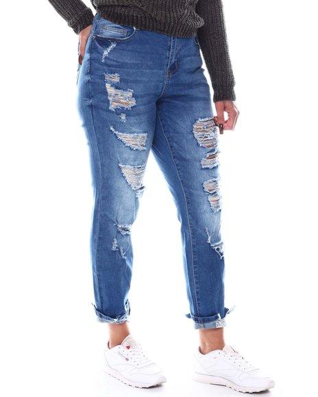 Fashion Lab - Distressed Raw Hem Jeans (Plus)