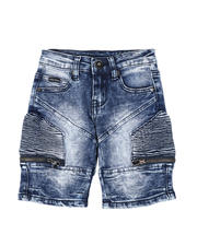 Bottoms - Washed Stretch Cut & Sew Moto Denim Shorts (2T-4T)-2587180