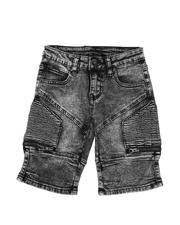 Sizes 4-7x - Kids - Washed Stretch Cut & Sew Moto Denim Shorts (4-7)-2587184