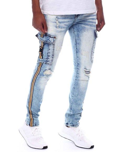 Industrial Indigo - Cargo Pocket Side Stripe Jean