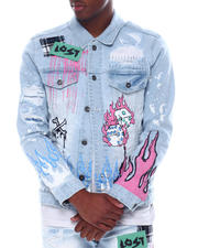 Outerwear - Skull Paint and Stone Denim Jacket-2588411