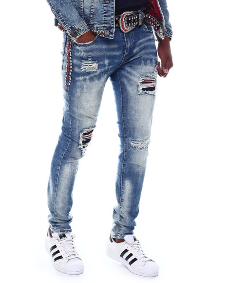 Industrial Indigo - Red Crystal Stripe Jean