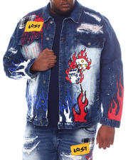 SMOKE RISE - Fire Dice Denim Jacket (B&T)-2588579