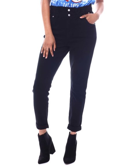 Almost Famous - Paperbag Waist Roll Cuff Jeans