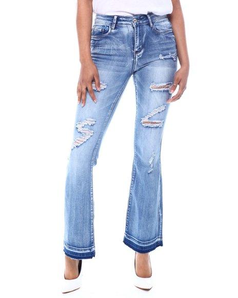 Fashion Lab - Distressed High Waist Bell Bottom Jeans