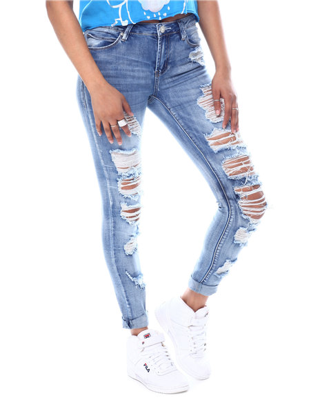 Almost Famous - Distressed Skinny Roll Cuff Jeans
