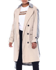 Outerwear - NVL Women's Trench W/Asymmetrical Pockets And Combo Fabrics-2592016