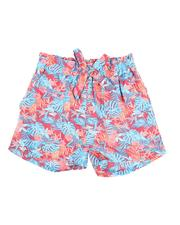 Girls - Paper Bag Waist Tropical Print Shorts (7-16)-2590029