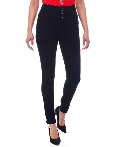 Fashion Lab - Exposed Buttons High Waisted Skinny Jeans