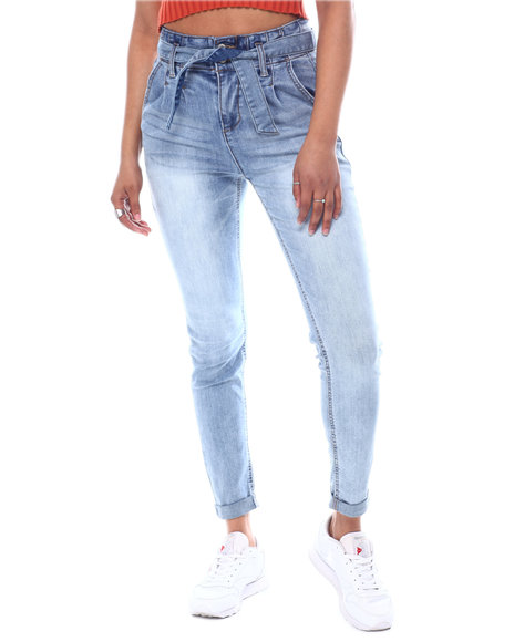Almost Famous - Paperbag Waist Belted Skinny Roll Cuff Jeans