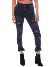 Skinny - Distressed Frayed Bottom Jeans-2591903