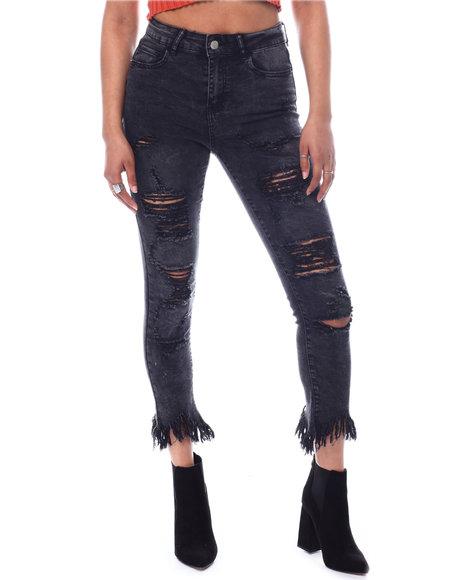 Fashion Lab - Distressed Frayed Bottom Jeans