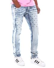 Slim - Star Embroidery with Side Stripe Paint Jean-2595018